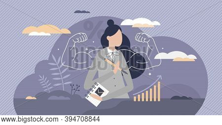 Powerful Business Female As Company Leader With Confidence Strength Tiny Person Concept. Businesswom