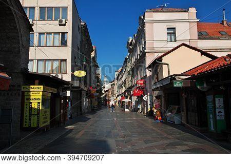 Sarajevo, Bosnia And Herzegovina - 28 Apr 2018: The Street In Sarajevo City, Bosnia And Herzegovina