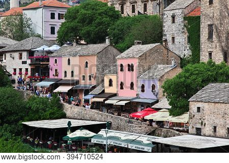 Mostar, Bosnia And Herzegovina - 03 May 2018: The Old Town Mostar, Bosnia And Herzegovina
