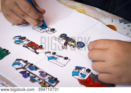 Child Paints At Home Vehicles. Boy Coloring Car, Car, Caravan, Car Carrier, Fire Truck, Police Car,