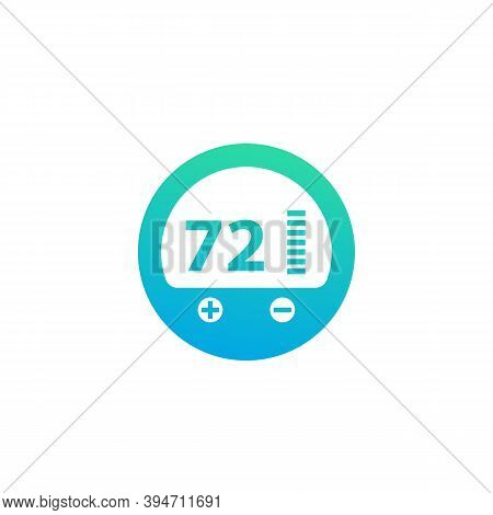 Thermostat Icon, Vector Pictogram On White, Eps 10 File, Easy To Edit
