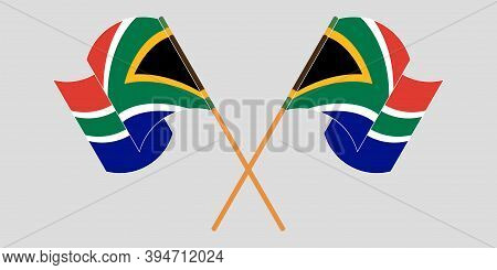 Crossed And Waving Flags Of South Africa. Vector Illustration