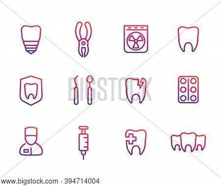 Oral Medicine, Stomatology, Dental Implant, Teeth Line Icons Set