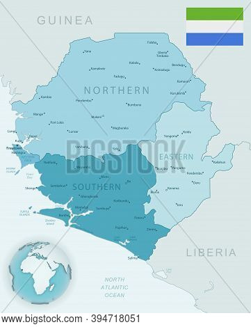 Blue-green Detailed Map Of Sierra Leone Administrative Divisions With Country Flag And Location On T