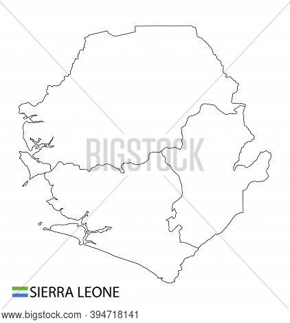 Sierra Leone Map, Black And White Detailed Outline Regions Of The Country.