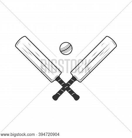 Cricket Bat And Ball Icons Isolated On White Background. Crossed Cricket Bats. Vintage Design Elemen