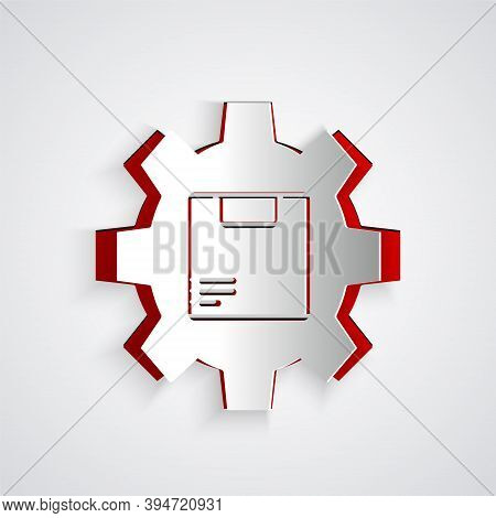 Paper Cut Gear Wheel With Package Box Icon Isolated On Grey Background. Box, Package, Parcel Sign. D
