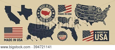 Vector Usa Map, Label, Logo. Usa Patriotic Set. United States Vintage Typography. Texas, California,
