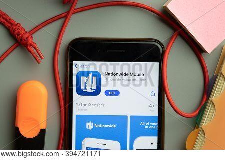 New York, United States - 7 November 2020: Nationwide Mobile App Store Logo On Phone Screen, Illustr