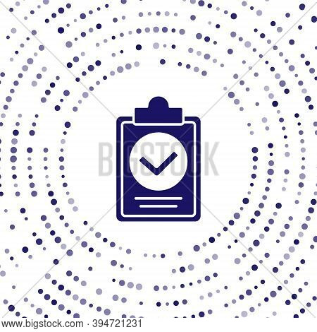Blue Verification Of Delivery List Clipboard Icon Isolated On White Background. Abstract Circle Rand