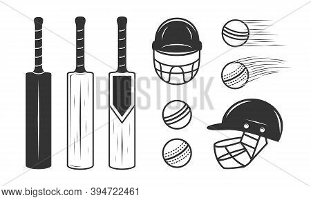 Cricket Set Isolated On White Background. Cricket Bat, Ball And Helmet. Cricket Design Elements For