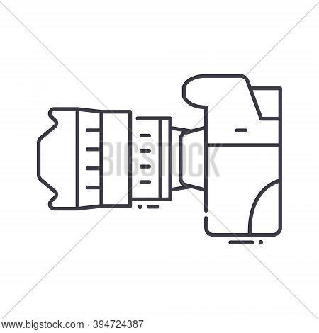 Camera Side View Icon, Linear Isolated Illustration, Thin Line Vector, Web Design Sign, Outline Conc
