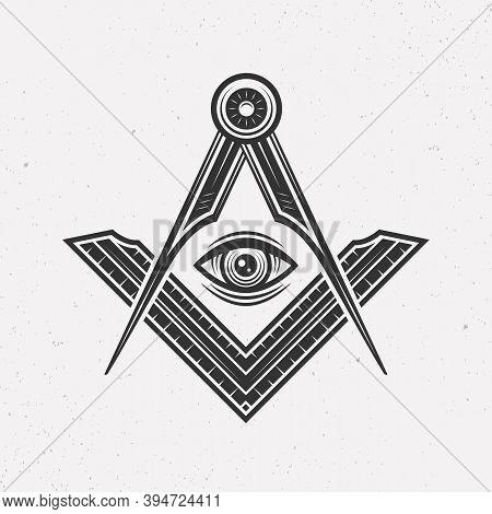 Illuminati Logo Concept. Freemasonry, Illuminati Conspiracy Logo Template. Vintage Typography. Print