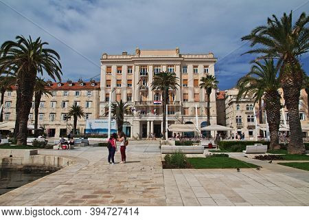 Split, Croatia - 02 May 2018: The Waterfront In The Marina Of Split City On Adriatic Sea, Croatia