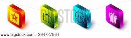 Set Isometric Hollywood Walk Of Fame Star, Retro Tv, 5d Virtual Reality And Popcorn In Box Icon. Vec