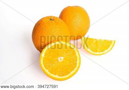 Fresh Juicy Oranges Isolated On White Background, Orange Fruit Isolated On White Background, Isolate