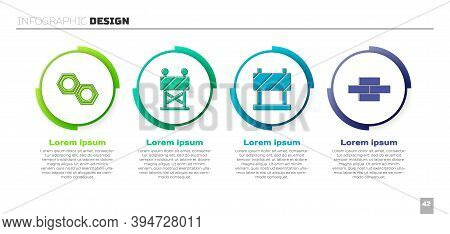 Set Hexagonal Metal Nut, Road Barrier, Road Barrier And Bricks. Business Infographic Template. Vecto