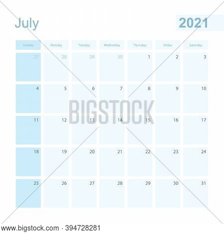 2021 July Wall Planner In Blue Color, Week Starts On Sunday. Calendar For July 2021 With Day Of Prev