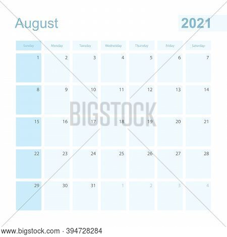2021 August Wall Planner In Blue Color, Week Starts On Sunday. Calendar For August 2021 With Day Of