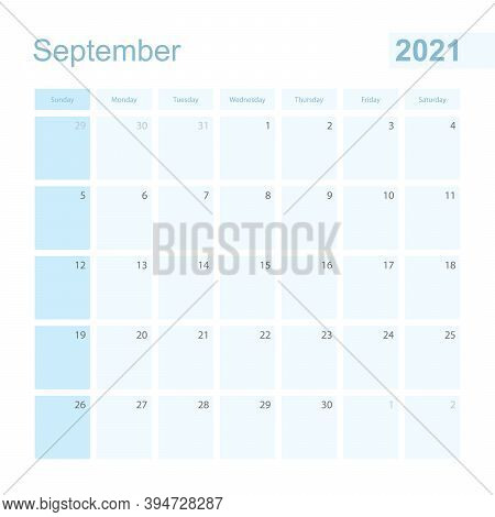 2021 September Wall Planner In Blue Color, Week Starts On Sunday. Calendar For September 2021 With D