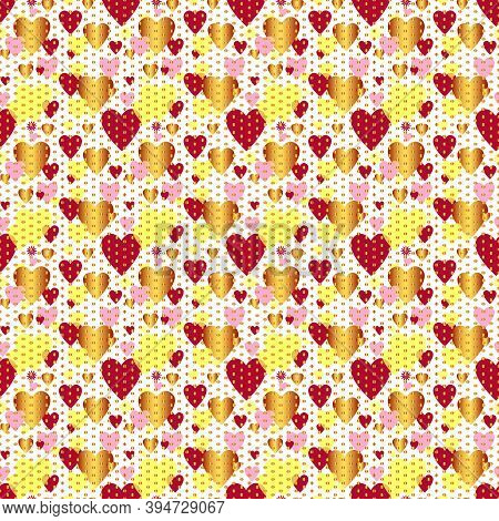 Seamless Valentine Spotty Pattern With Translucent Hearts, Vector Eps 10