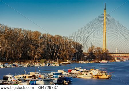 Belgrade / Serbia - January 15, 2017: The Ada Bridge, A Cable-stayed Bridge Over The Frozen Sava Riv