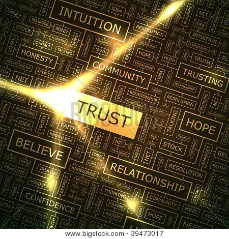 TRUST. Word collage. Vector illustration.