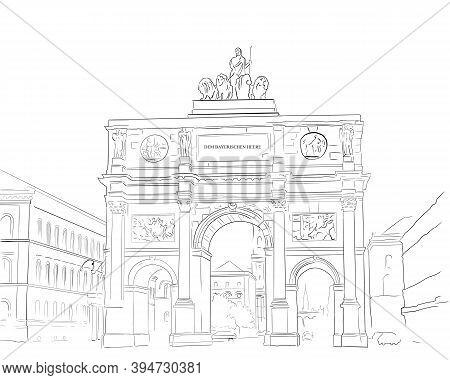 Black And White Illustration Brandenburg Gate In Berlin.