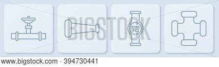 Set Line Industry Pipe And Valve, Water Meter, Industry Metallic Pipe And Industry Metallic Pipe. Wh