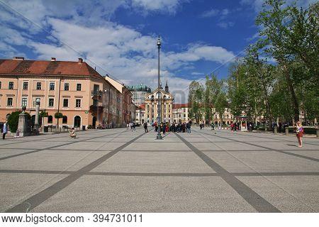 Ljubljana, Slovenia - 30 Apr 2018: Congress Square, Kongresni Trg In Ljubljana, Slovenia
