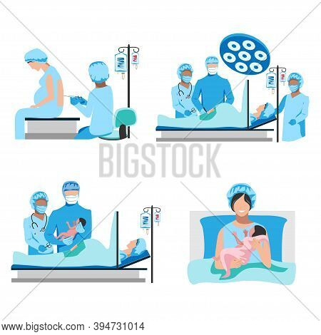 The Doctor And Nurses Perform A Caesarean Section Under Epidural Anesthesia. Surgery. Obstetrics And