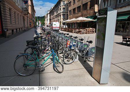 Ljubljana, Slovenia - 30 Apr 2018: The Bicycle In Ljubljana, Slovenia