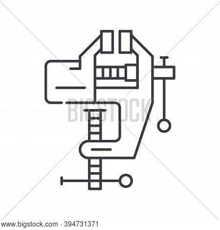 C Clamp Icon, Linear Isolated Illustration, Thin Line Vector, Web Design Sign, Outline Concept Symbo