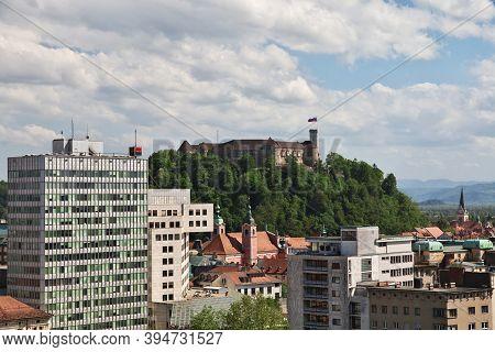 Ljubljana, Slovenia - 30 Apr 2018: The View On Center Of Ljubljana, Slovenia