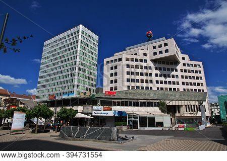 Ljubljana, Slovenia - 30 Apr 2018: The Modern Building In Ljubljana, Slovenia