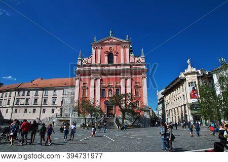 Ljubljana, Slovenia - 30 Apr 2018: Franciscan Church On Preseren Quare, Ljubljana, Slovenia