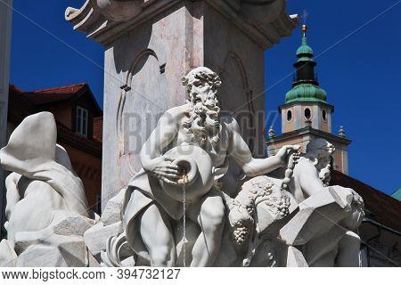 Ljubljana, Slovenia - 30 Apr 2018: The Monument On Old Square, Stari Trg In Ljubljana, Slovenia