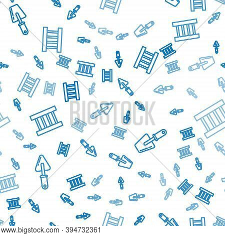 Set Line Trowel, Trowel And Wooden Staircase On Seamless Pattern. Vector
