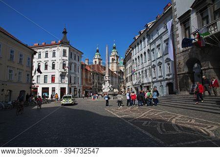 Ljubljana, Slovenia - 30 Apr 2018: Old Square, Stari Trg In Ljubljana, Slovenia