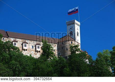 Ljubljana, Slovenia - 30 Apr 2018: The Castle In Ljubljana, Slovenia