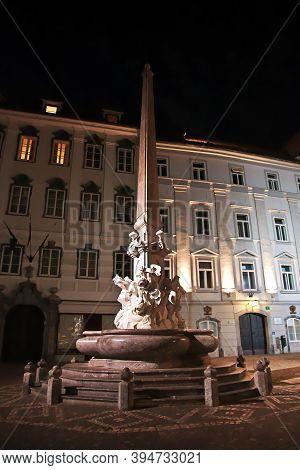Ljubljana, Slovenia - 29 Apr 2018: The Monument On Old Square, Stari Trg In Ljubljana At Night, Slov