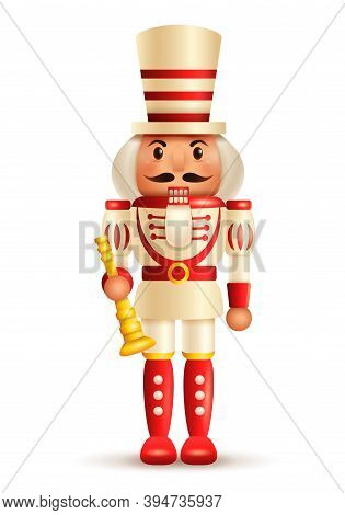 Christmas Nutcracker Soldier With Horn. Antique Traditional Figurine Doll.