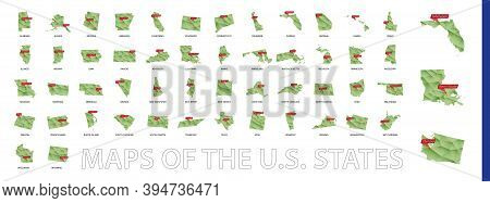 Green Gradient Low Poly Us States Maps With The State's Capital Sign. Big Collection Of Us States Ma