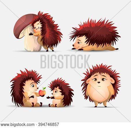 Vector Set Of Cute Cartoon Hedgehogs, Apple And Strawberry. Vector Hedgehog. Hedgehogs Vector Illust