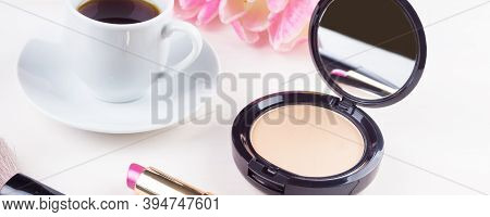 Morning Makeup Products - Panoramic Mocap With A Cup Of Coffee, Powder And Lipstick, Feminine Mornin