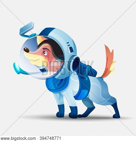 Vector Illustration With A Dog In A Spacesuit. Cosmonaut Dog. Cute Dog Cartoon Character In An Astro