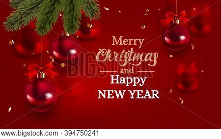 Merry Christmas And Happy New Year Holidays Greeting Card, Frame, Banner. New Year. Noel. Christmas