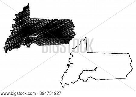 Wicomico County, Maryland (u.s. County, United States Of America, Usa, U.s., Us) Map Vector Illustra