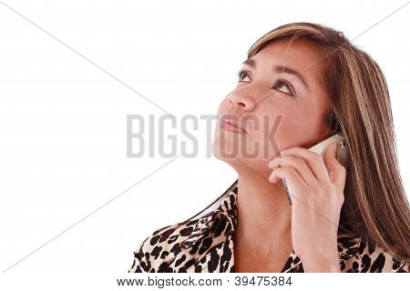 Closeup Of Happy Business Woman Talking On Cellphone And Looking Up. Isolated On White Background