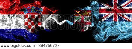Croatia, Croatian Vs Fiji, Fijian Smoky Mystic Flags Placed Side By Side. Thick Colored Silky Abstra